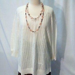 Lane Bryant Size 18/20 White Check Sweater